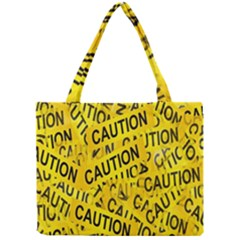 Caution Road Sign Cross Yellow Mini Tote Bag by Alisyart