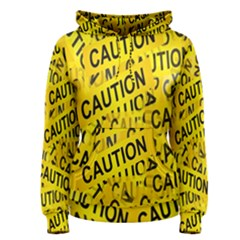 Caution Road Sign Cross Yellow Women s Pullover Hoodie