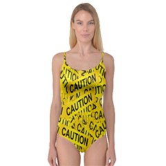 Caution Road Sign Cross Yellow Camisole Leotard  by Alisyart