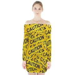 Caution Road Sign Cross Yellow Long Sleeve Off Shoulder Dress by Alisyart