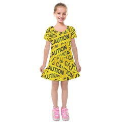 Caution Road Sign Cross Yellow Kids  Short Sleeve Velvet Dress by Alisyart