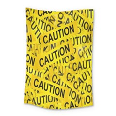 Caution Road Sign Cross Yellow Small Tapestry by Alisyart