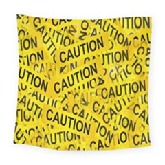 Caution Road Sign Cross Yellow Square Tapestry (large)