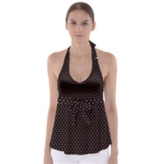 Colored Circle Red Black Babydoll Tankini Top