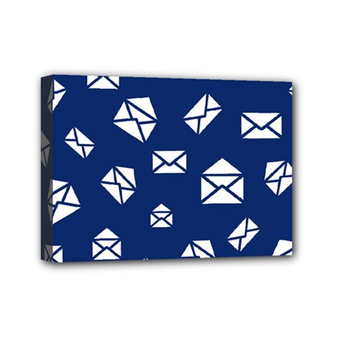 Envelope Letter Sand Blue White Masage Mini Canvas 7  X 5  by Alisyart
