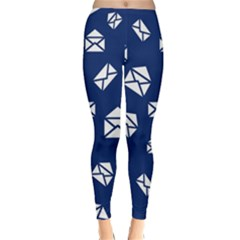 Envelope Letter Sand Blue White Masage Classic Winter Leggings