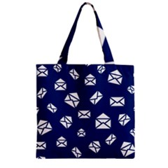 Envelope Letter Sand Blue White Masage Zipper Grocery Tote Bag