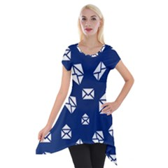 Envelope Letter Sand Blue White Masage Short Sleeve Side Drop Tunic by Alisyart
