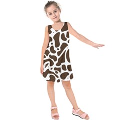 Dalmantion Skin Cow Brown White Kids  Sleeveless Dress by Alisyart