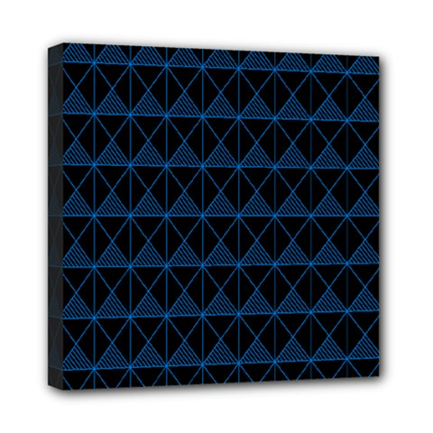 Colored Line Light Triangle Plaid Blue Black Mini Canvas 8  X 8  by Alisyart