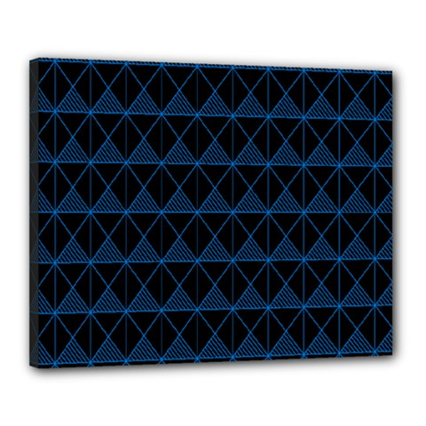Colored Line Light Triangle Plaid Blue Black Canvas 20  X 16  by Alisyart
