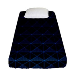 Colored Line Light Triangle Plaid Blue Black Fitted Sheet (single Size) by Alisyart