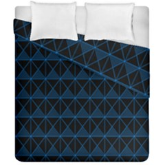 Colored Line Light Triangle Plaid Blue Black Duvet Cover Double Side (california King Size)