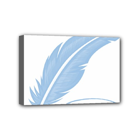 Feather Pen Blue Light Mini Canvas 6  X 4  by Alisyart