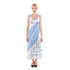 Feather Pen Blue Light Sleeveless Maxi Dress