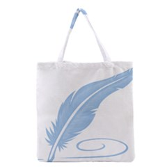 Feather Pen Blue Light Grocery Tote Bag by Alisyart