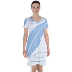 Feather Pen Blue Light Short Sleeve Nightdress by Alisyart