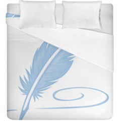 Feather Pen Blue Light Duvet Cover Double Side (king Size) by Alisyart