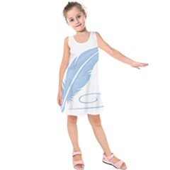 Feather Pen Blue Light Kids  Sleeveless Dress by Alisyart