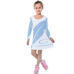 Feather Pen Blue Light Kids  Long Sleeve Velvet Dress by Alisyart