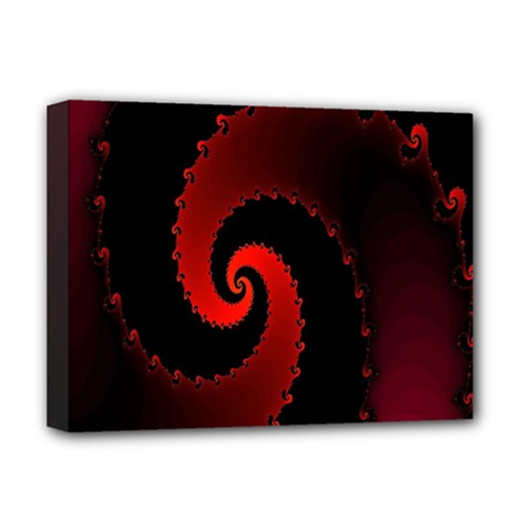 Red Fractal Spiral Deluxe Canvas 16  X 12