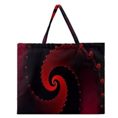 Red Fractal Spiral Zipper Large Tote Bag by Simbadda
