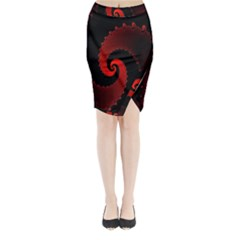 Red Fractal Spiral Midi Wrap Pencil Skirt