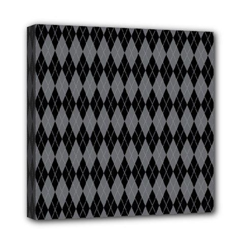 Chevron Wave Line Grey Black Triangle Mini Canvas 8  X 8  by Alisyart
