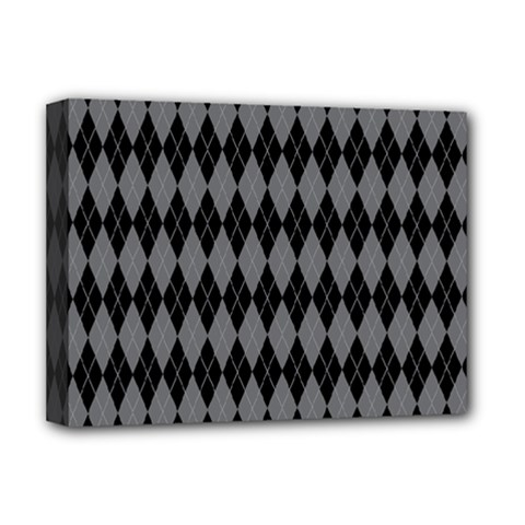 Chevron Wave Line Grey Black Triangle Deluxe Canvas 16  X 12
