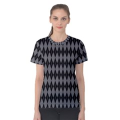 Chevron Wave Line Grey Black Triangle Women s Cotton Tee by Alisyart
