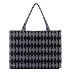 Chevron Wave Line Grey Black Triangle Medium Tote Bag by Alisyart