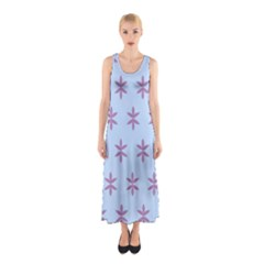 Flower Floral Different Colours Blue Purple Sleeveless Maxi Dress