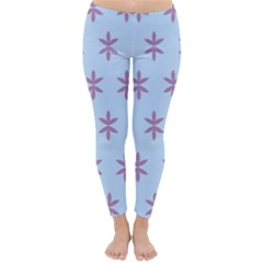 Flower Floral Different Colours Blue Purple Classic Winter Leggings