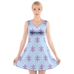 Flower Floral Different Colours Blue Purple V Neck Sleeveless Skater Dress