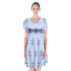 Flower Floral Different Colours Blue Purple Short Sleeve V Neck Flare Dress