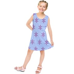 Flower Floral Different Colours Blue Purple Kids  Tunic Dress