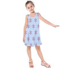 Flower Floral Different Colours Blue Purple Kids  Sleeveless Dress by Alisyart