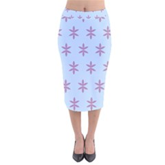 Flower Floral Different Colours Blue Purple Velvet Midi Pencil Skirt by Alisyart