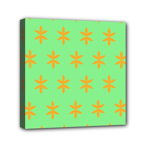 Flower Floral Different Colours Green Orange Mini Canvas 6  X 6  by Alisyart