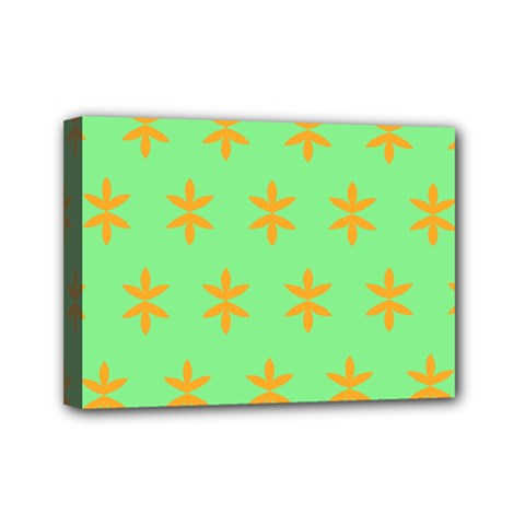 Flower Floral Different Colours Green Orange Mini Canvas 7  X 5