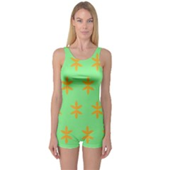 Flower Floral Different Colours Green Orange One Piece Boyleg Swimsuit by Alisyart