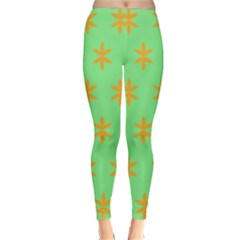 Flower Floral Different Colours Green Orange Classic Winter Leggings
