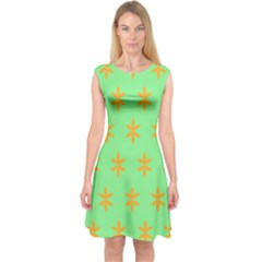 Flower Floral Different Colours Green Orange Capsleeve Midi Dress by Alisyart