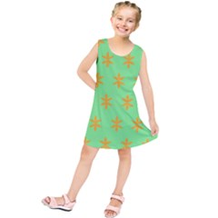 Flower Floral Different Colours Green Orange Kids  Tunic Dress