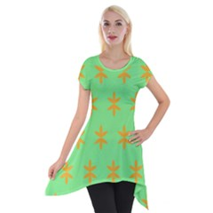 Flower Floral Different Colours Green Orange Short Sleeve Side Drop Tunic by Alisyart