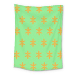 Flower Floral Different Colours Green Orange Medium Tapestry
