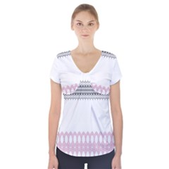 Crown King Quinn Chevron Wave Pink Black Short Sleeve Front Detail Top by Alisyart