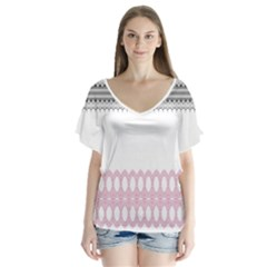 Crown King Quinn Chevron Wave Pink Black Flutter Sleeve Top