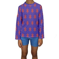 Flower Floral Different Colours Purple Orange Kids  Long Sleeve Swimwear