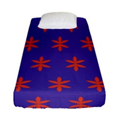 Flower Floral Different Colours Purple Orange Fitted Sheet (single Size)